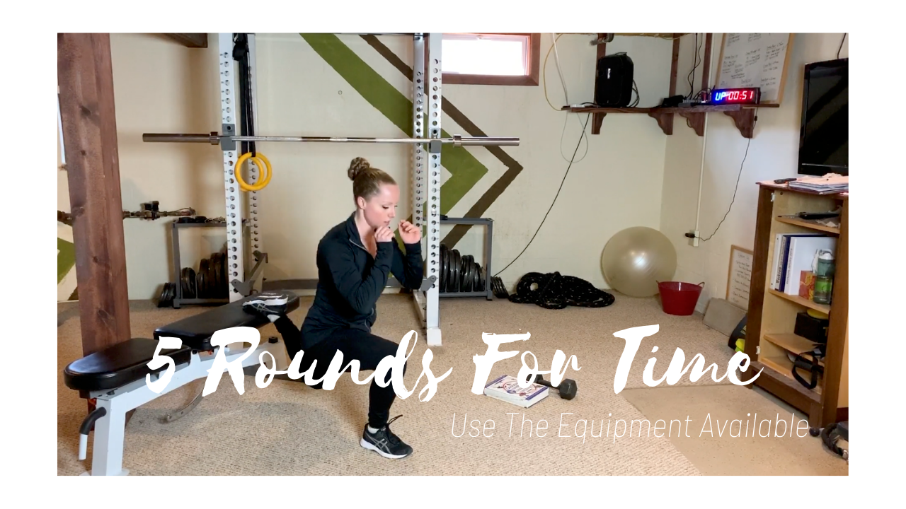5 Rounds For Time – Plank, Split Squats, Ground to Overhead