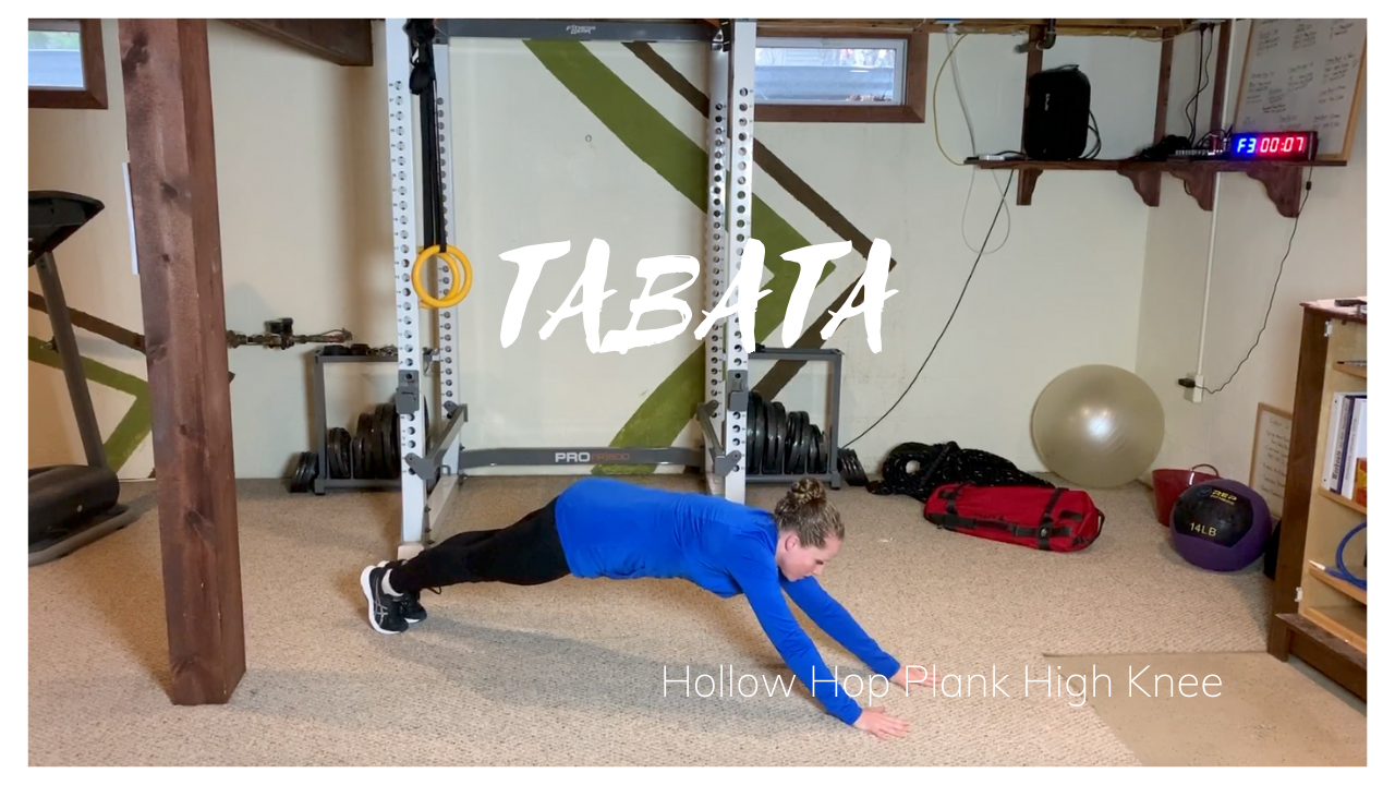 TABATA: Hollow Hop Plank High Knees